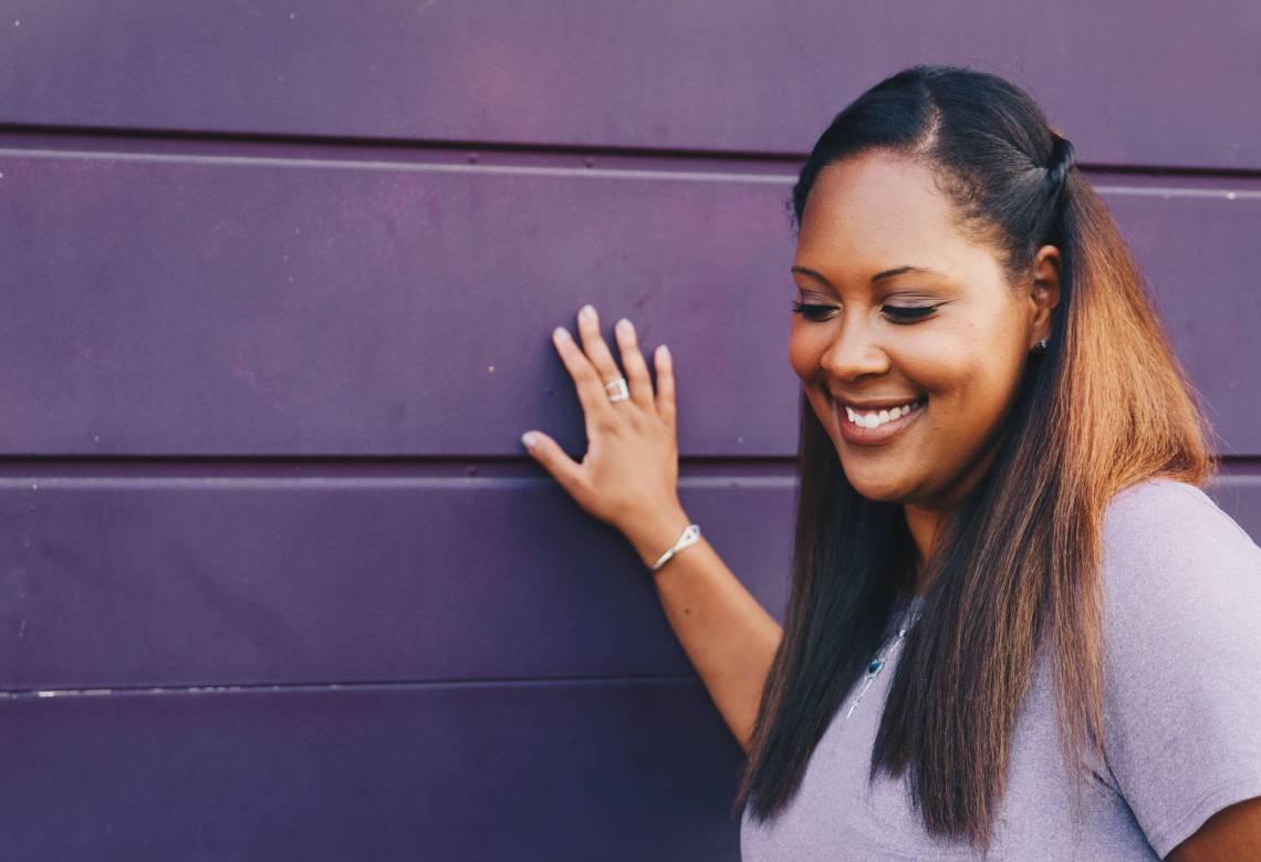 happy woman self care