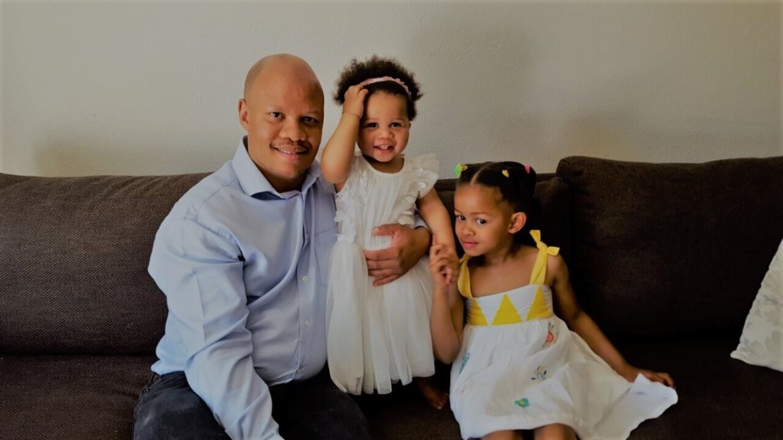 father and kids working mom blog