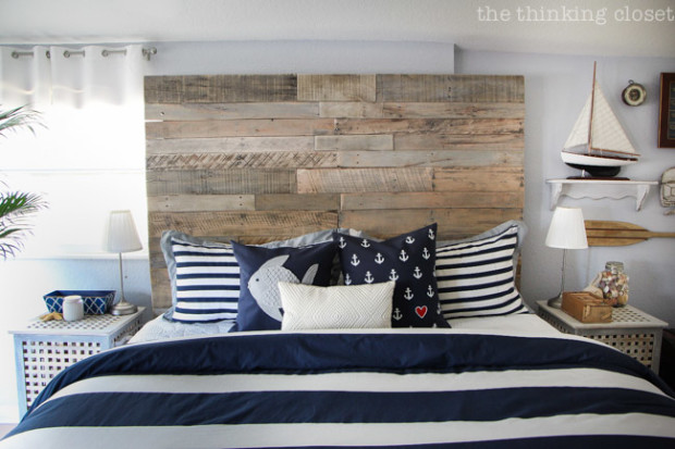 RusticNauticalBedroom with wood pallet headboard