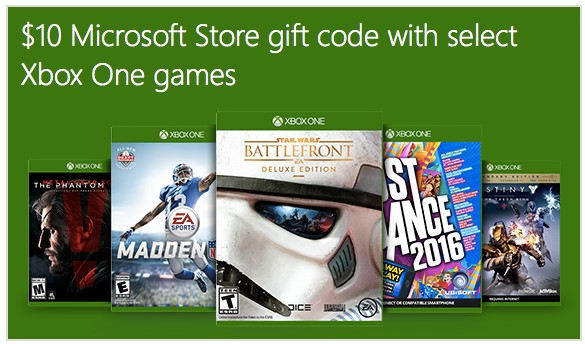 FREE $10 Microsoft Store Gift Code with Select Xbox One Game