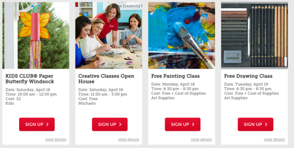 michaels.com/classes for details