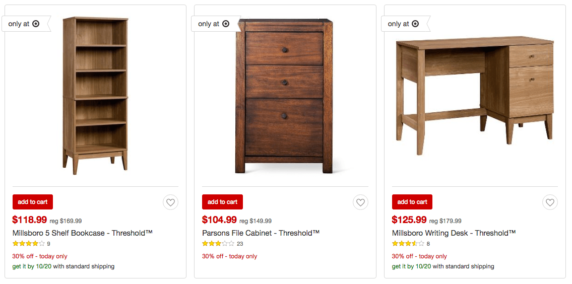 Perfect Today only Target is offering up an EXTRA off ALL Office Furniture including shelving units desks and so much more