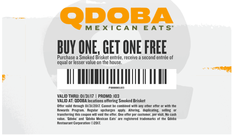 image about Qdoba Printable Coupons called Qdoba Entrees ~ BOGO Cost-free Coupon - My DFW Mommy