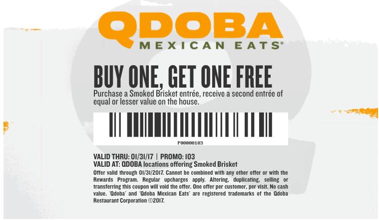 photograph regarding Qdoba Printable Coupons known as Qdoba Entrees ~ BOGO Absolutely free Coupon - My DFW Mommy