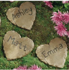 these adorable personalized garden heart stepping stones are just 997 at walmartcom these are regularly 1497 and sell for at least 15 on other sites - Personalized Garden Stones