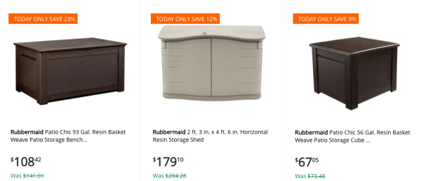Today only, Home Depot is offering up to 30% Off Select Outdoor Power and  Storage Equipment! Shipping is FREE on this offer and there are several  options ... - Save On Rubbermaid Patio Storage Items Today Only - My Dallas Mommy