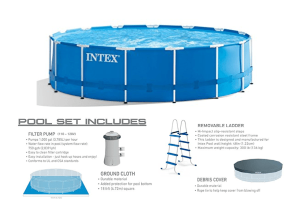 Intex 15 Foot X 48 Inch Metal Frame Pool Set Only $199 Shipped - My ...
