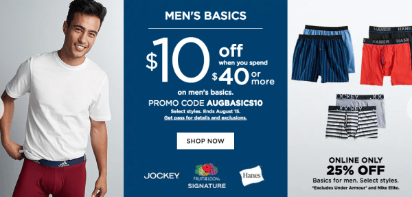 0fffa5356df $10 Off $40 Men's Basics Purchase at Kohl's - My DFW Mommy