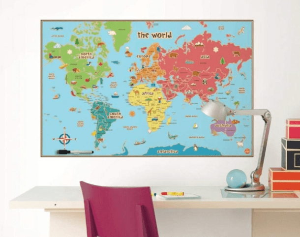 WallPops Kids Dry Erase World Map Decal $8 (Reg $21) - My ... on metal world map, custom world map, winter world map, butterfly world map, cork board world map, peel and stick world map, ink world map, fluorescent world map, space world map, chalk world map, erasable world map, paint world map, christmas world map, jewelry world map, paper world map, canvas world map, star wars world map, super mario bros 3 world map, magnetic world map, fabric world map,