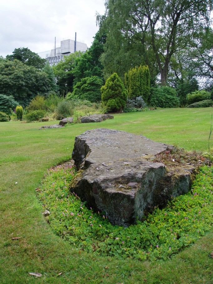 Rock garden in summer with zoology building