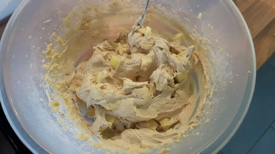 Spiced banana and apple muffin cake mixture