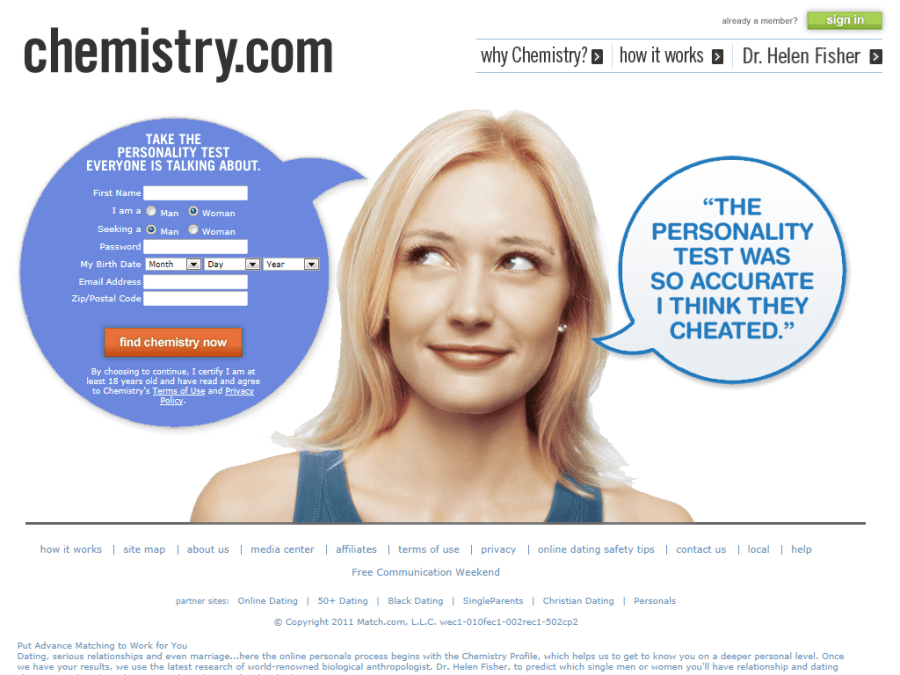 chemistry.com dating website signing up