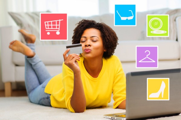 woman shopping online on laptop