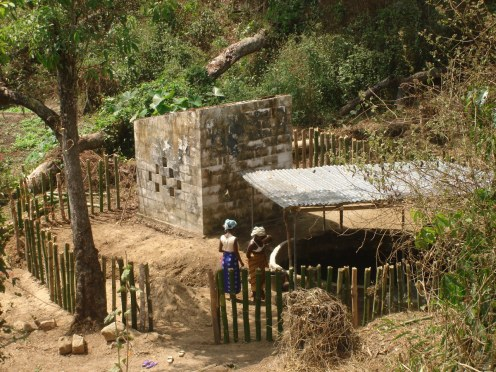 Where drinking water is collected by women from the village