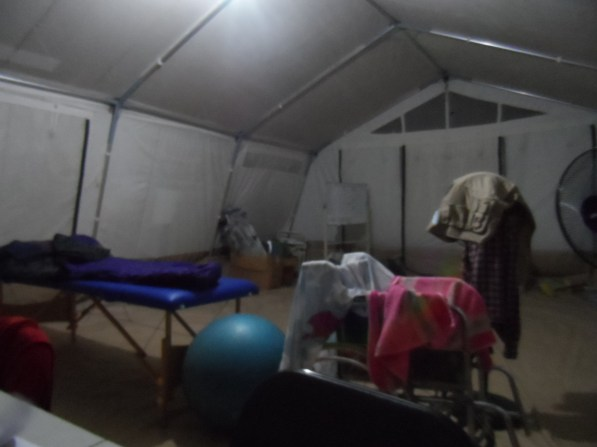 There are nights I had to sleep in the big tent ... at least I have the massage bed for myself :)