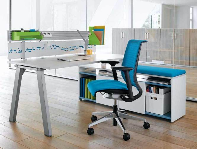 Office Tables Design Black Leather Wheeled Ergonomic Chair Wooden Table Wall Mounted Storage Shelves L Shape Brown Computer Desk