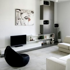 White Contemporary Living Room Feature Wall Ideas Grey My Decorative