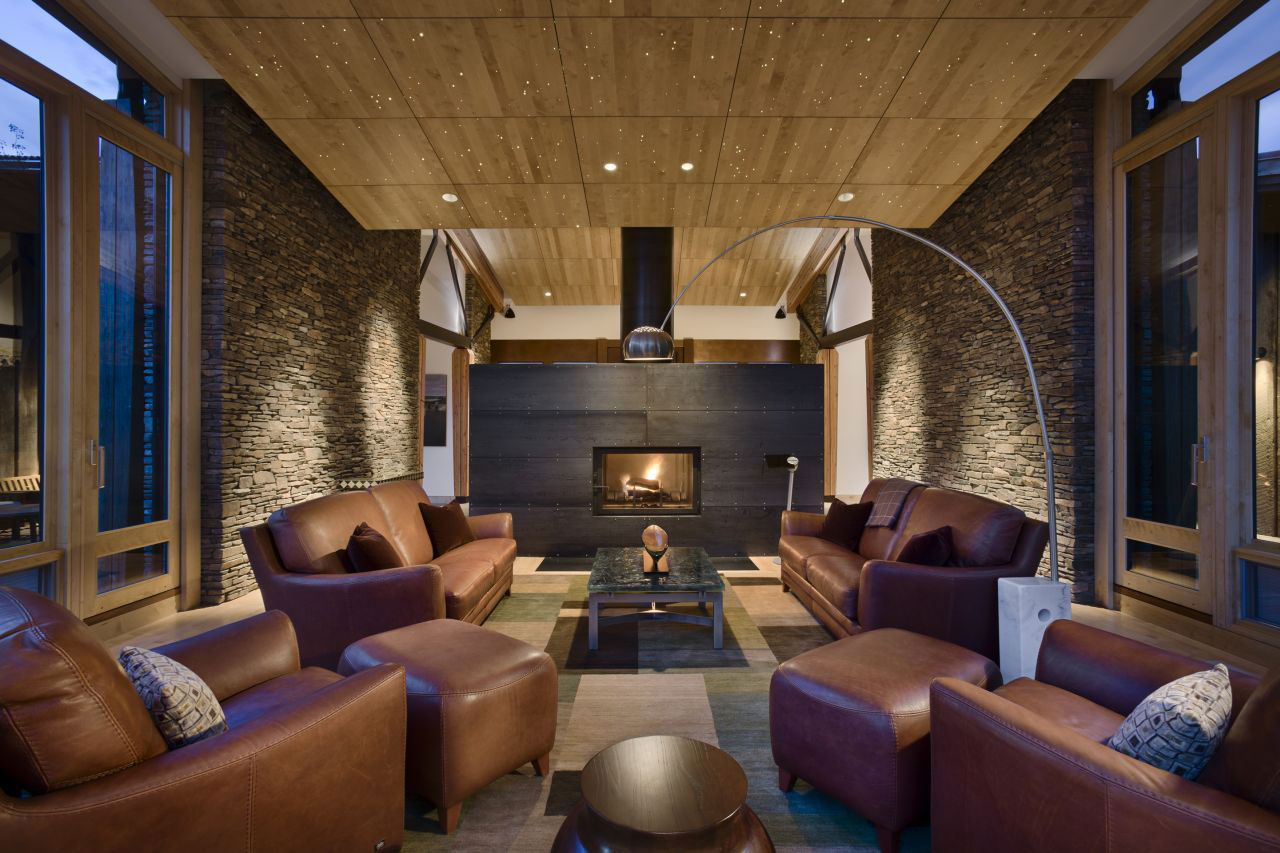 Small Modern Living Room Rustic House With Chocolate Leather