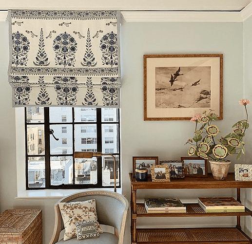 botanical print custom made blind, soft duck egg blue wall colour, vintage art, wicker furniture