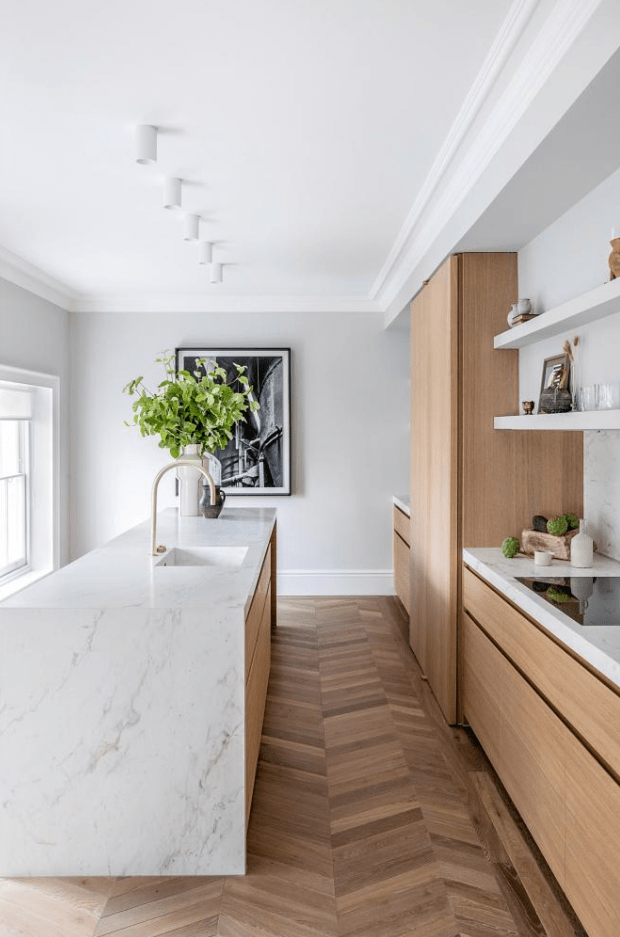 Timber and Marble kitchen
