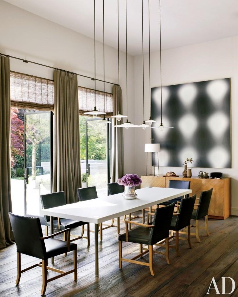 Dining Room Decor Large Dining Room Table Pendant Lights Abstract Art Hardwood Floors