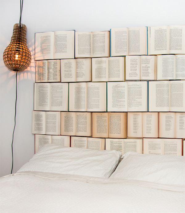 DIY headboard made of old books