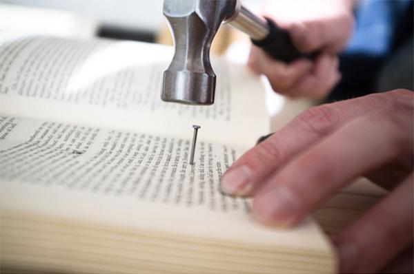 DIY headboard made of old books4