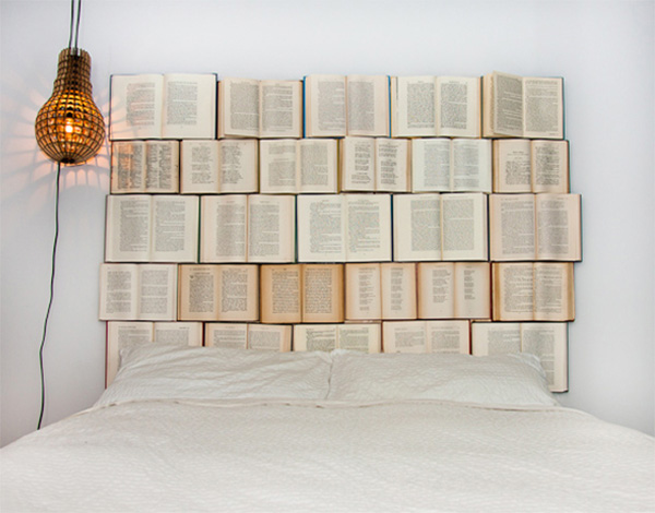 DIY headboard made of old books5