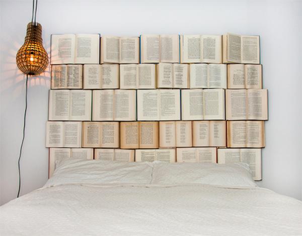 DIY headboard made of old books5