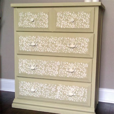 Transform old furniture with lace and spray 5