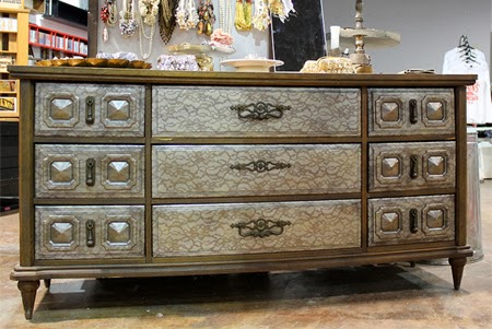 Transform old furniture with lace and spray 6