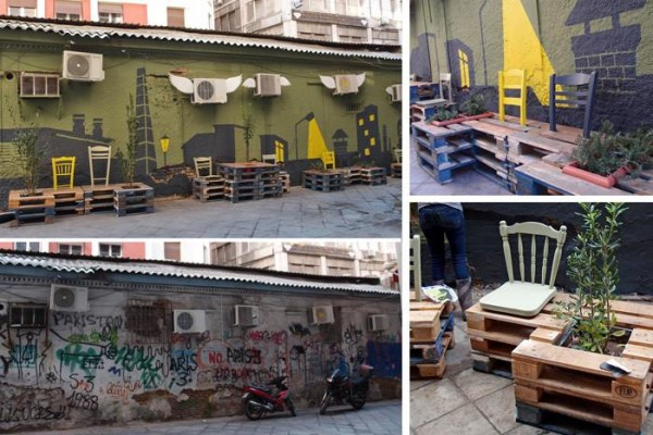 Street art conversion with pallets, plants and painting3