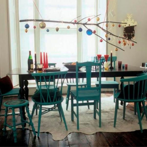 christmas decorations dining room white painted blue  eclectic chairs table spindle back suspended hanging branch baubles fairy lights blackboard cowhide skin rug pub orig l etc 12/2006 p111