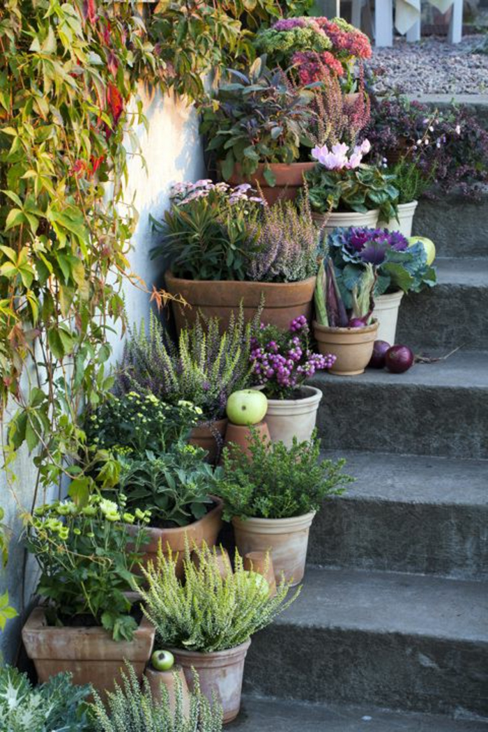 staircase pots decoration ideas7