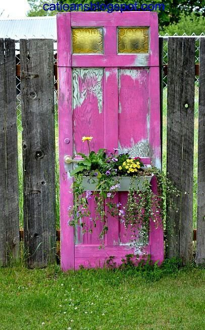 Decorate garden with recycling old doors5