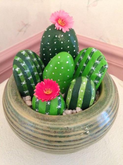 Diy Cactus from stones9