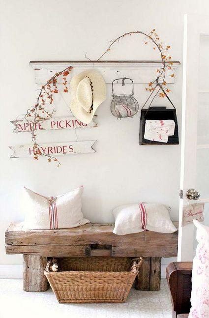 Decorate with benches and natural wood logs12