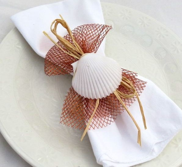 Sea Souvenirs For Your Table Decor With Napkins And Plates
