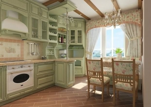 small kitchen in the style of Provence20
