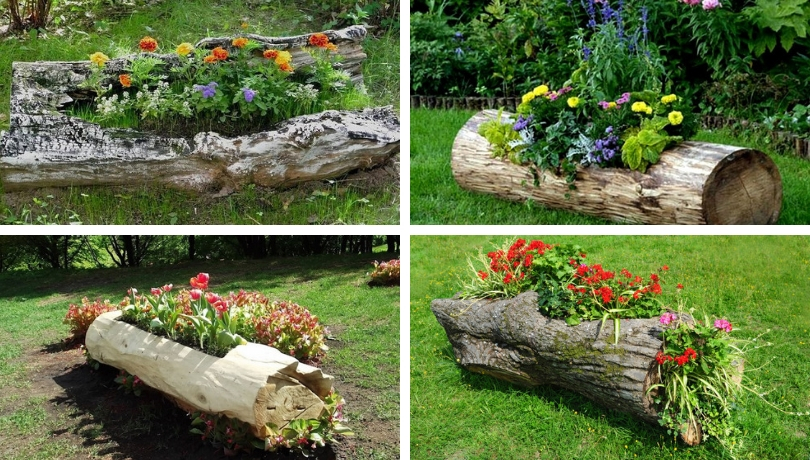 Incredibly Beautiful DIY Flowerbed Ideas From Logs U2013 Original Decoration  For Your Garden