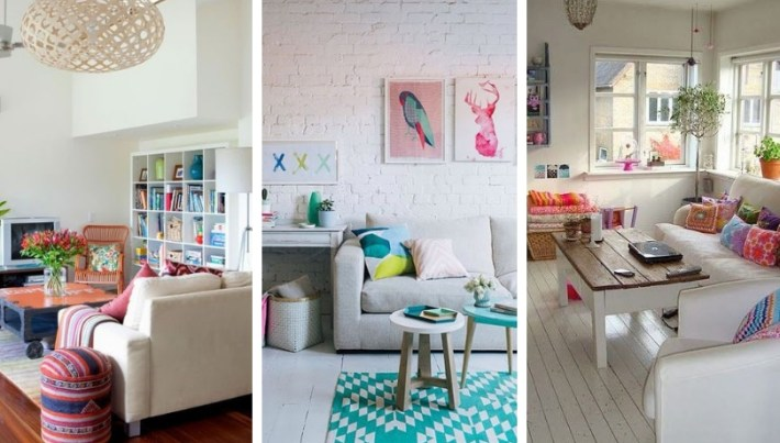20 Colorful living room ideas with White Sofas