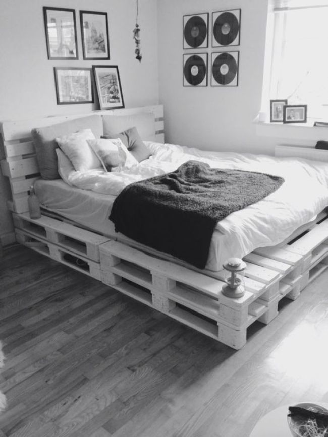 Cool DIY ideas for white pallet bed frames | My desired home on Pallet Bedroom Ideas  id=95276