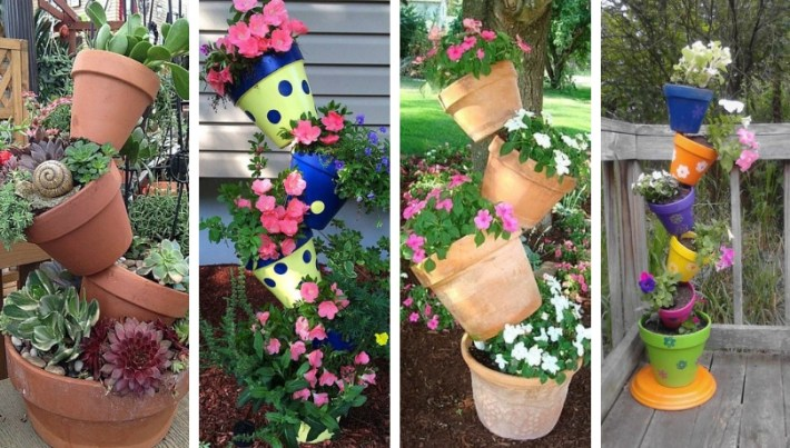 DIY Flower towers, a pleasant surprise in the yard and garden of your home