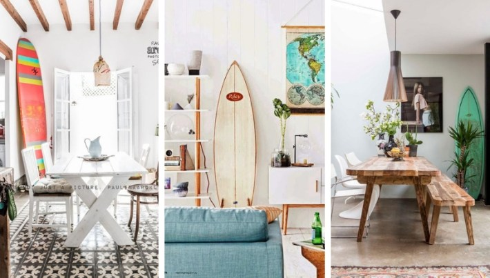 Decorate with surfboards, great idea for beach apartments