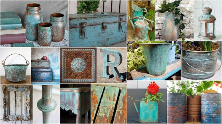 The easiest way to give an aged Patina look to objects-surfaces with chalk paints