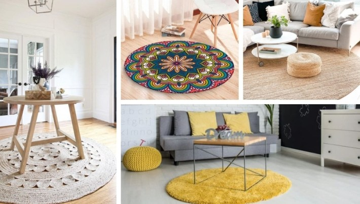26 Inspirational ideas for a round rug in the decoration of your living room