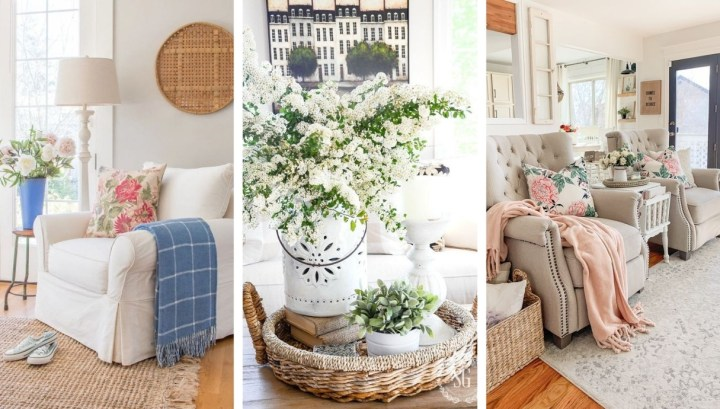 21 Great ideas to achieve a farmhouse spring atmosphere in the living room