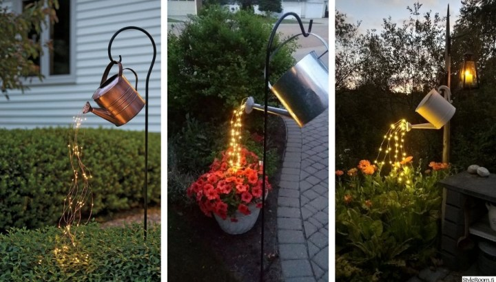 Deco trend: Inspiration for beautiful garden decoration with old watering cans and led lights