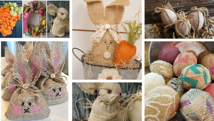 You will need just a piece of burlap for create beautiful rustic Easter DIY decorations