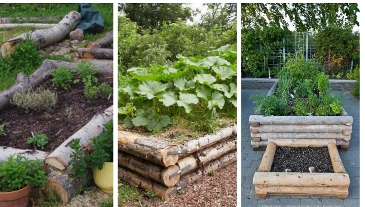 Create durable garden beds with ordinary wood logs: Inspiration for planting vegetables and favorite flowers